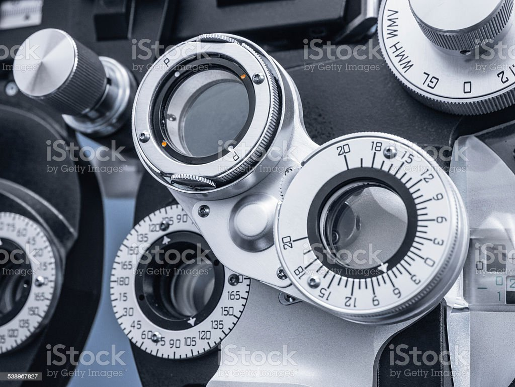 Close Up of Phoropter in Eye Doctor's Office stock photo