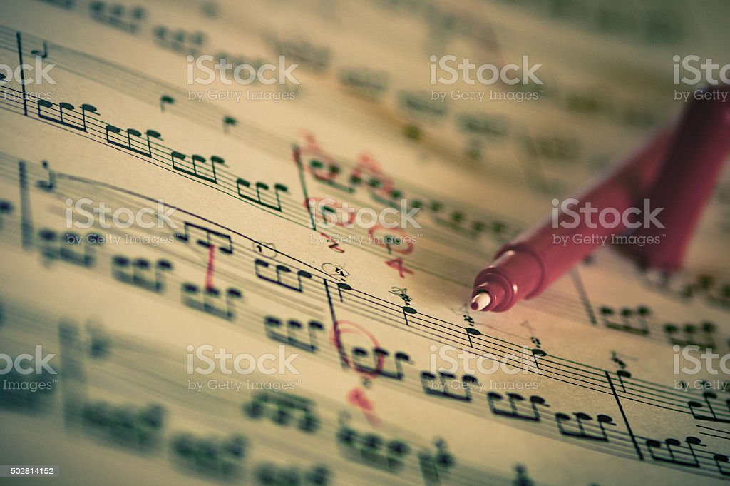 Close up of piano classic music score and note stock photo
