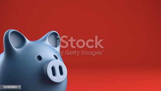 Close up of piggybank looking away