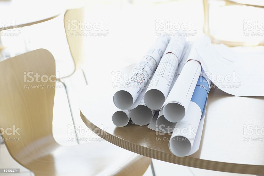 Close up of pile of blueprints royalty-free stock photo