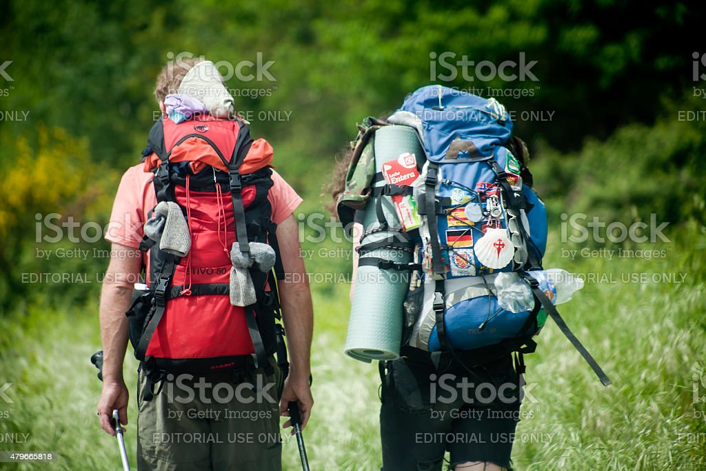 Close up of pilgrims in the 'camino de Santiago'. stock photo