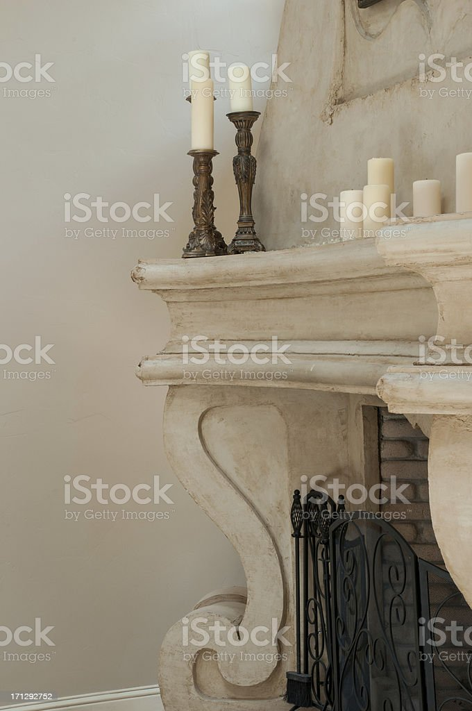 Close up of pillar style fireplace stock photo