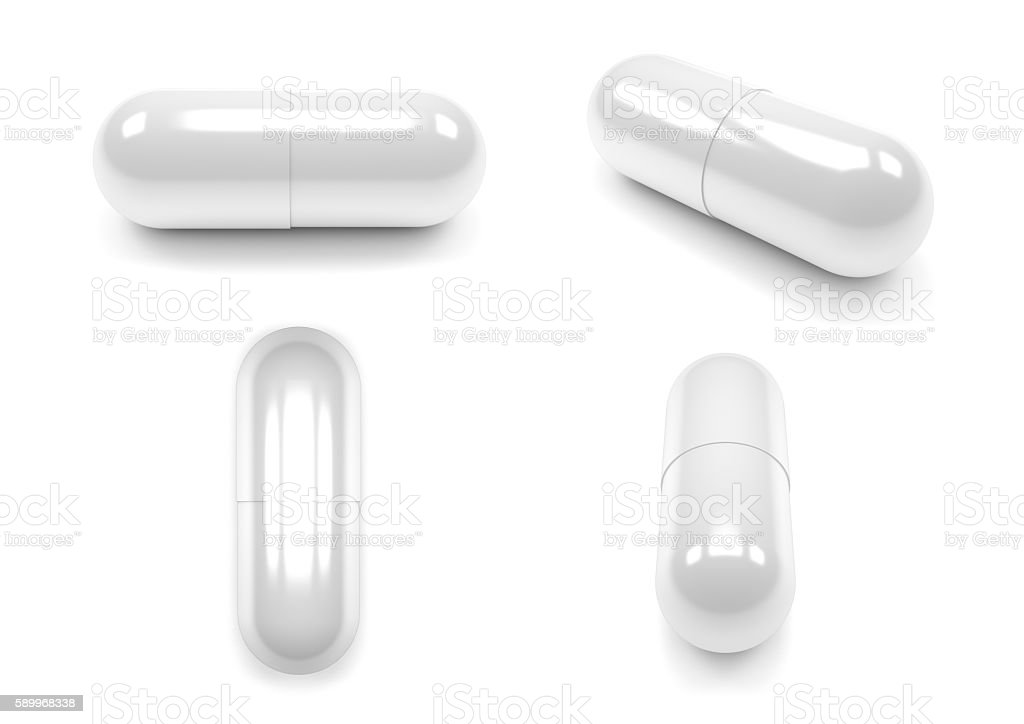 Close up of pills capsule isolated on white background. – Foto