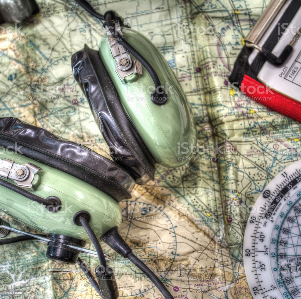 close up of pilot tools in hdr stock photo
