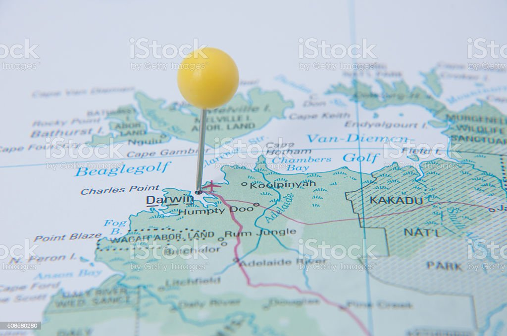 Close Up Of Pin On Map Darwin Australia Stock Photo More Pictures