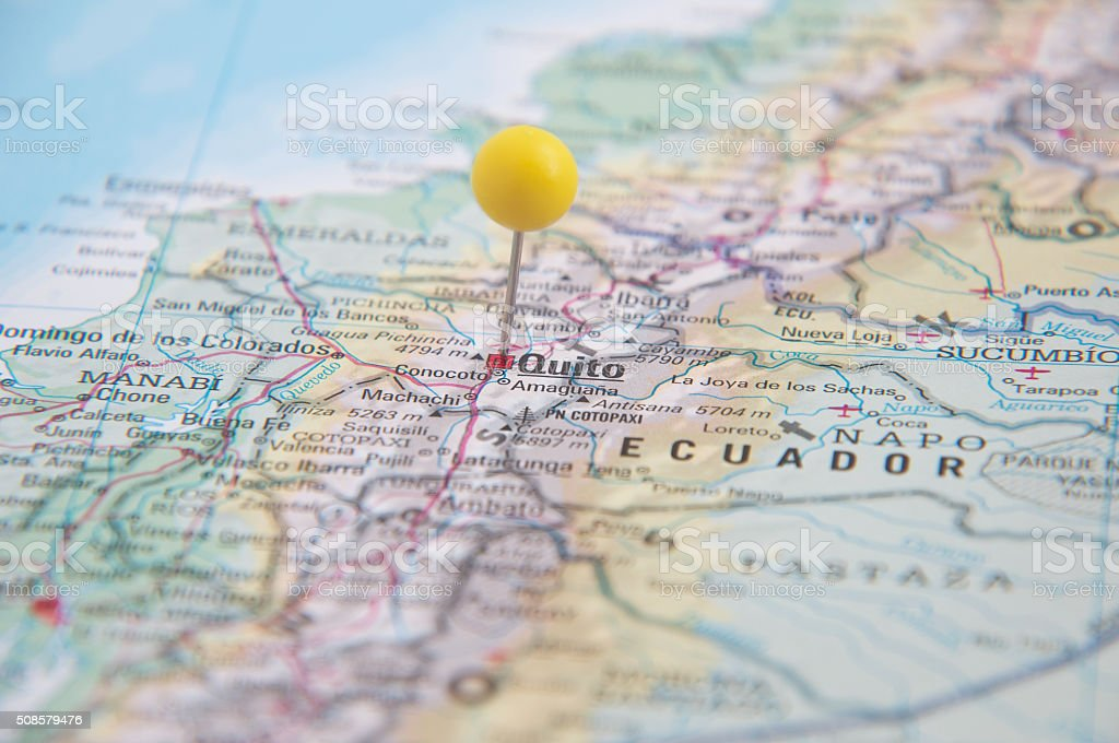 Close Up of Pin on map, Quito, Ecuador, South America. stock photo