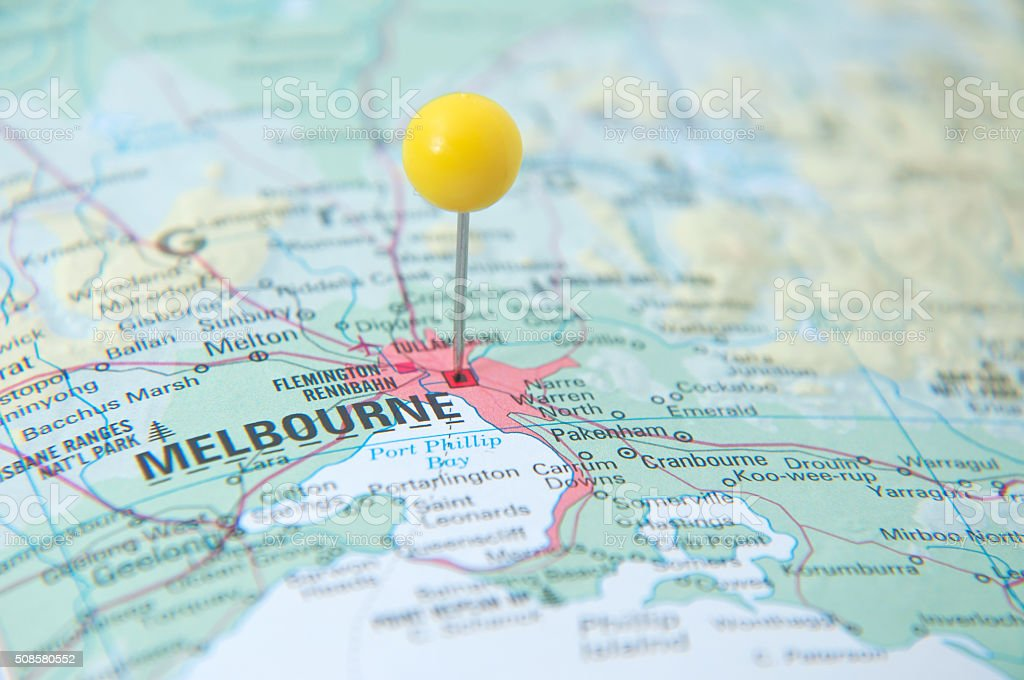 Close Up Of Pin On The Map Melbourne Victoria Australia Stock Photo