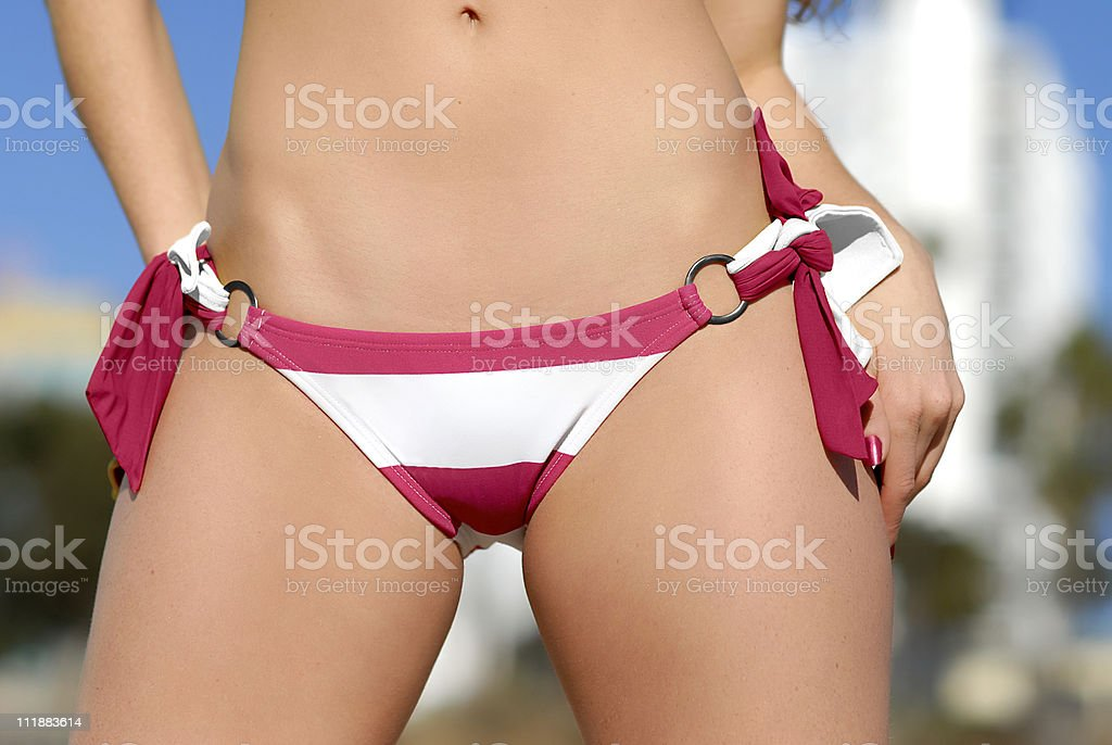 Close up of Pink and White Bikini Bottoms stock photo