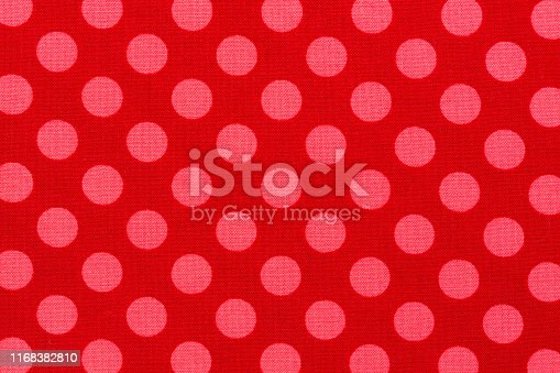 Close up of pink dot red background fabric. High quality