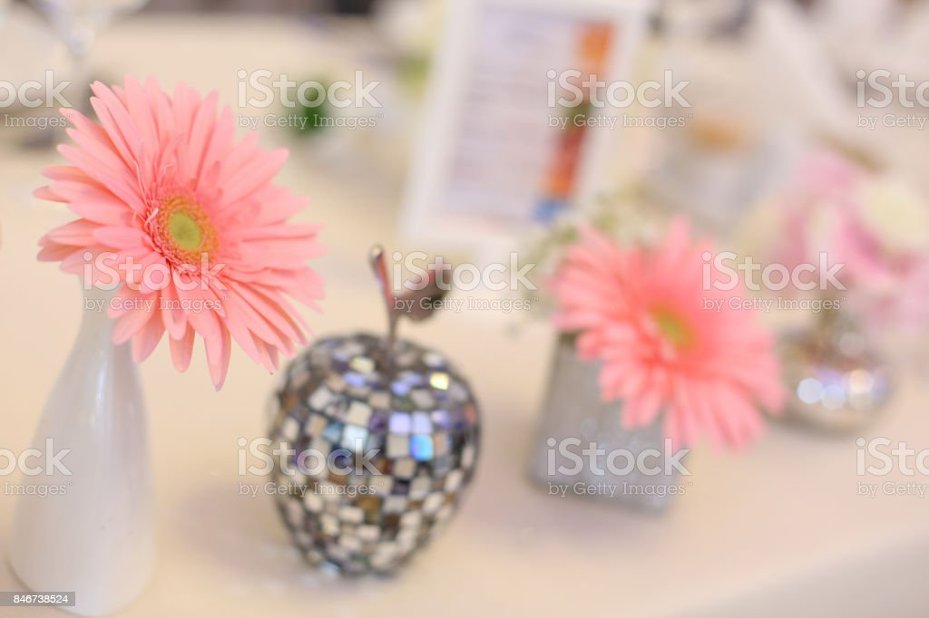 close up of pink flower arangement stock photo