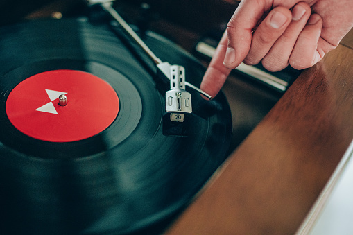 Close up of playing music on a turntable