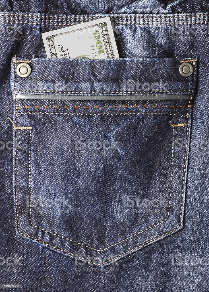 Close up of pocket with 100 dollars stock photo