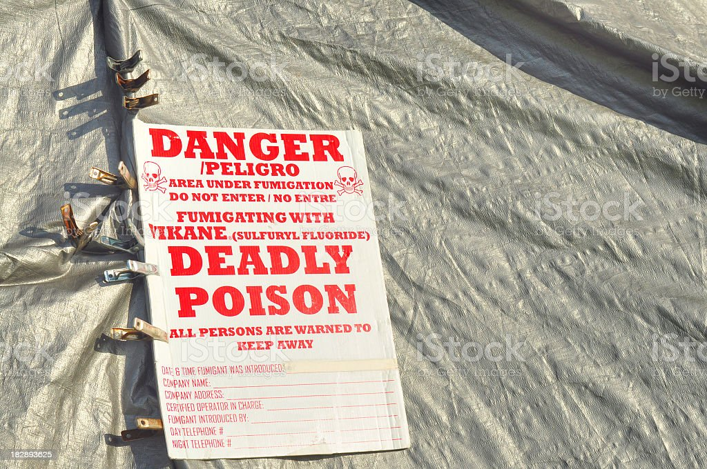 Close up of poison gas sign on fumigation tent royalty-free stock photo & Close Up Of Poison Gas Sign On Fumigation Tent Stock Photo u0026 More ...