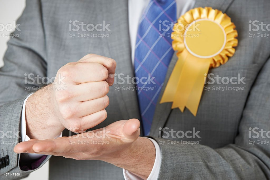 Close Up Of Politician Making Passionate Speech stock photo