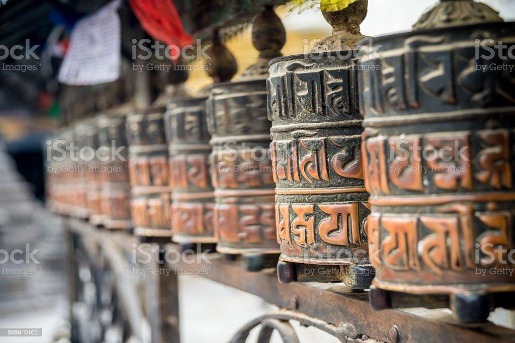 Close up of praying wheels in Kathmandu stock photo