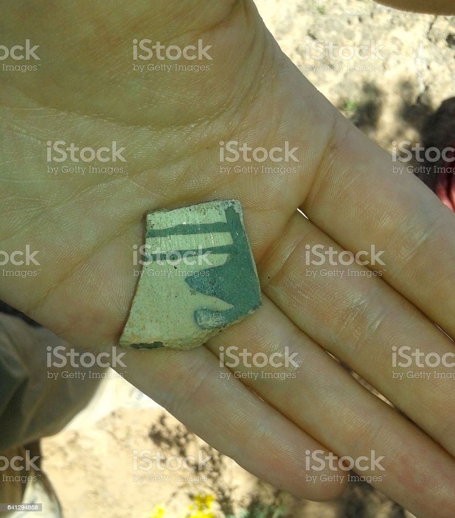 Close Up of Prehistoric Pottery Fragment stock photo