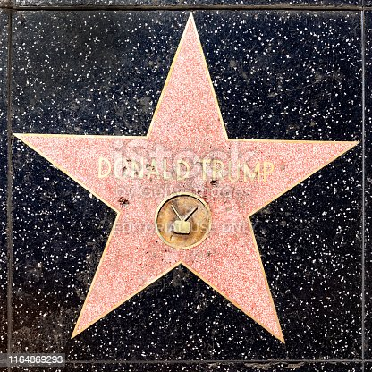 Los Angeles, USA - March 17, 2019: Close up of President Donald Trump's recently repaired star on the Hollywood Walk of Fame on Hollywood Boulevard, which has been vandalized several times.