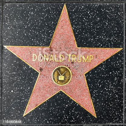 Los Angeles, USA - March 5, 2019: Close up of President Donald Trump's recently repaired star on the Hollywood Walk of Fame on Hollywood Boulevard, which has been vandalized several times.