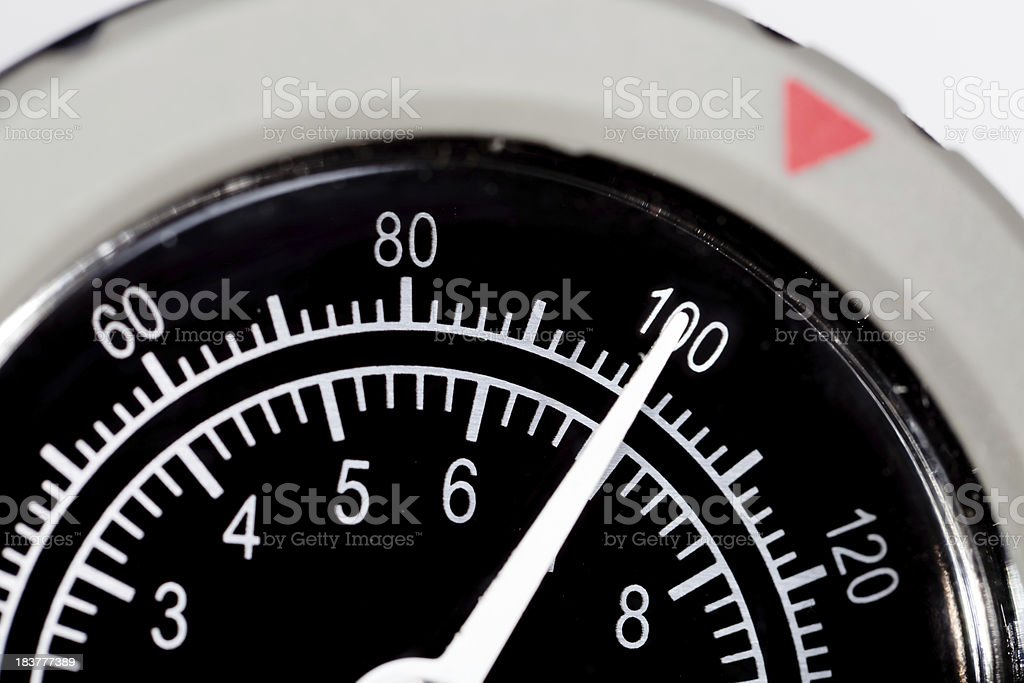 Close up of pressure gauge dial at 100 royalty-free stock photo