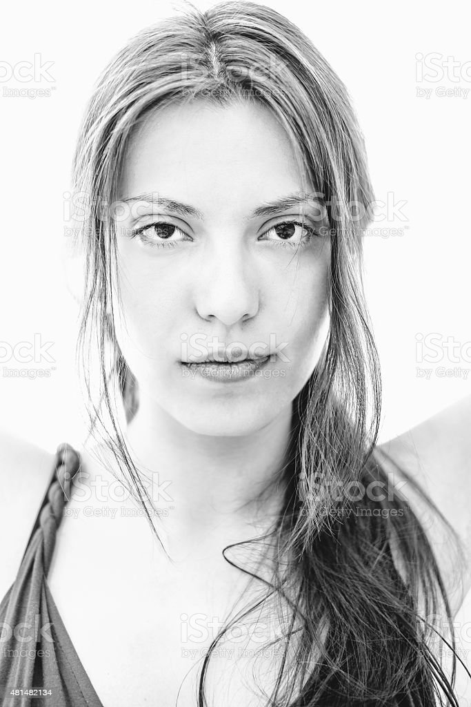 Close up of Pretty Young Asian Woman in Monochrome stock photo