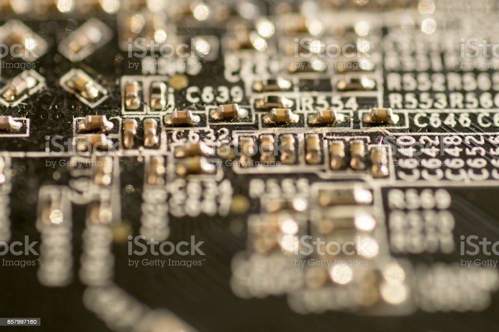Close up of printed circuit boards stock photo