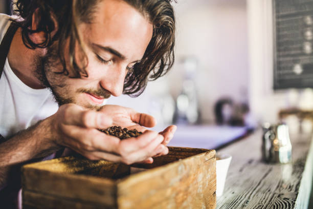 a close up of professional barista in a cafe, smelling coffee beans. - barista making coffee stock photos and pictures
