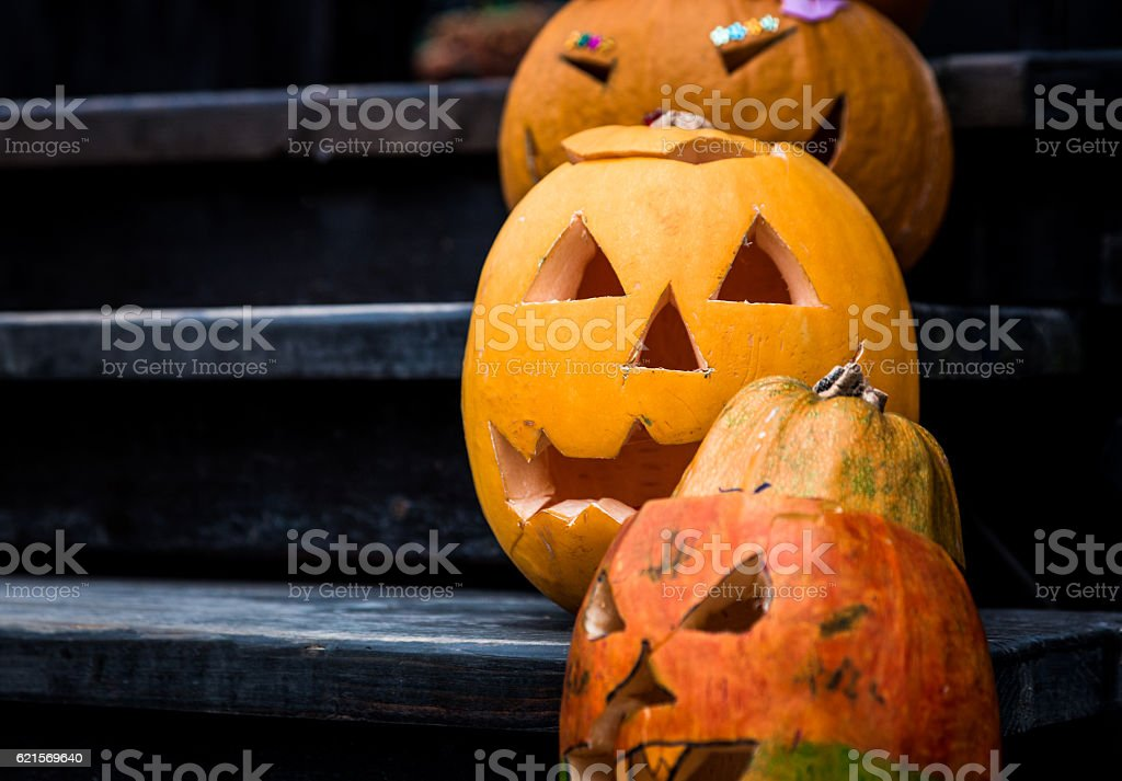 Close up of Pumpkins carved and decorated for Halloween foto stock royalty-free