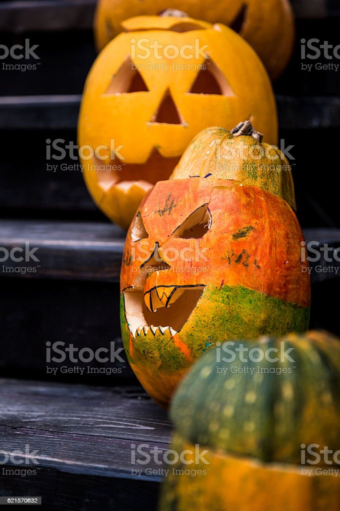 Close up of Pumpkins carved and decorated for Halloween photo libre de droits