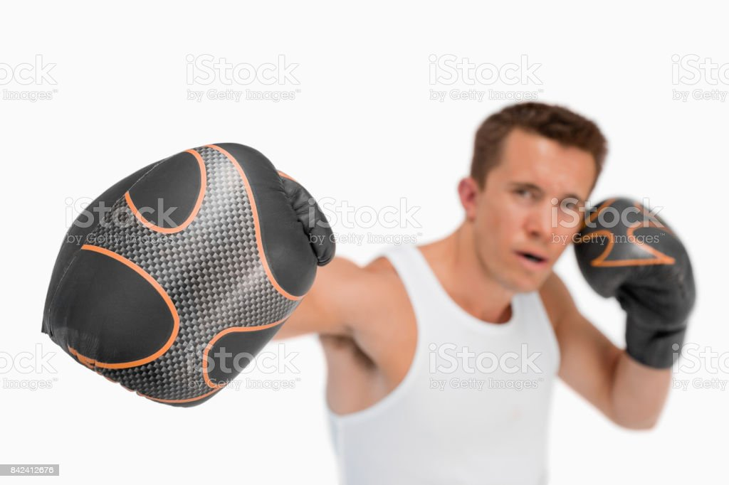 Close up of punching fist stock photo
