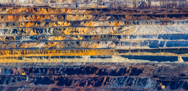 close up of quarry extracting ore - gold mine stock photos and pictures