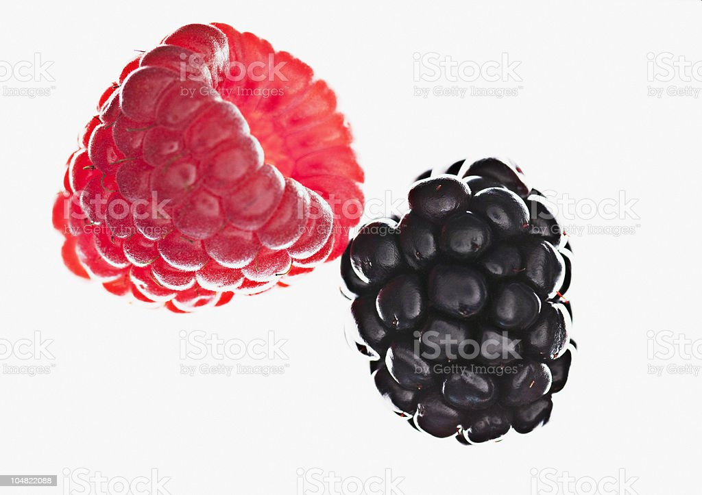 Close up of raspberry and blackberry stock photo