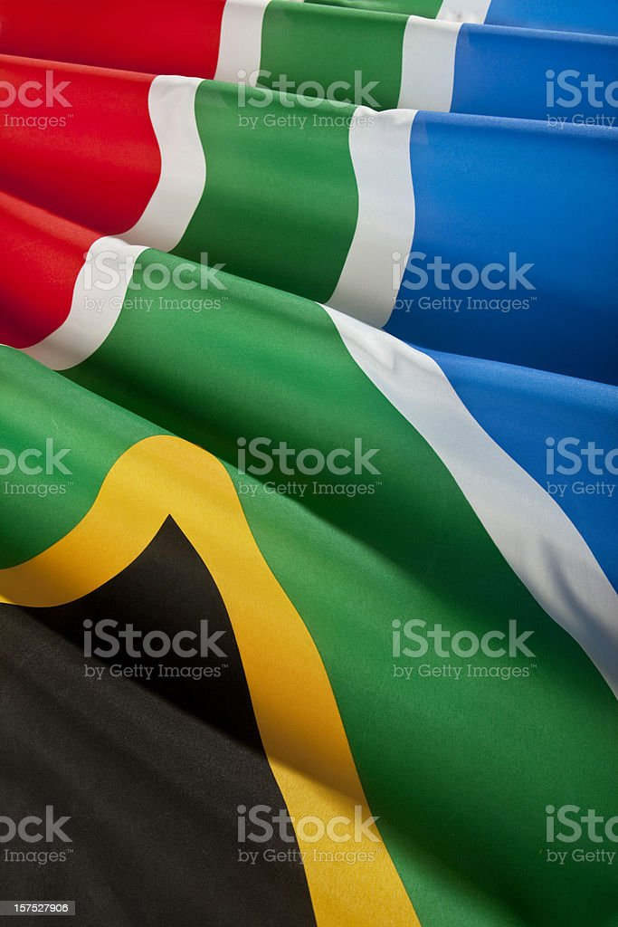 Close up of real south african flag stock photo