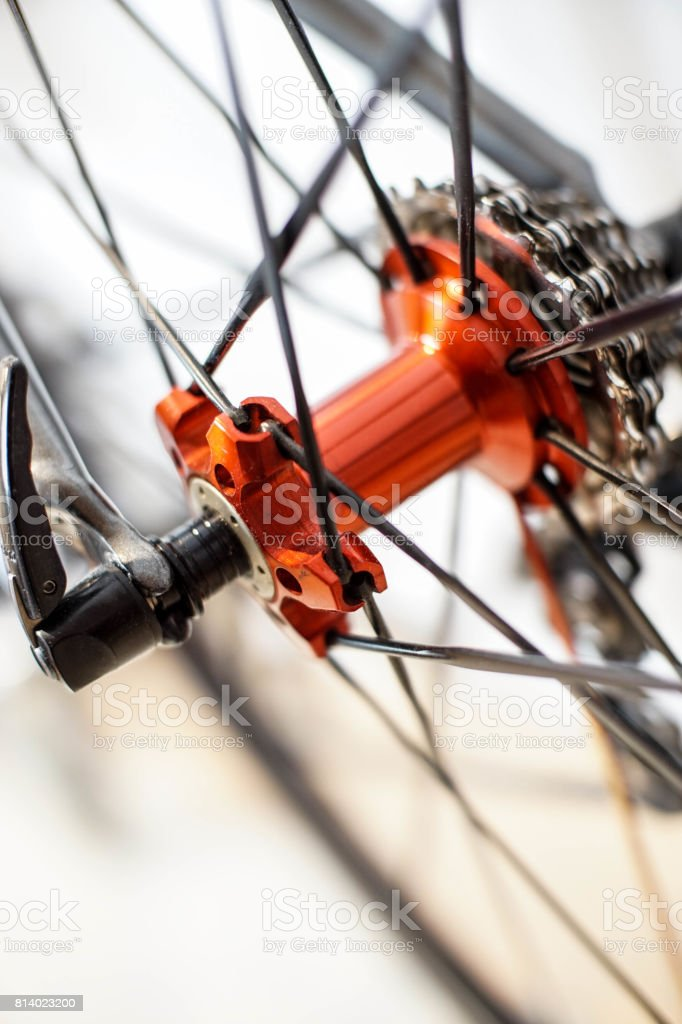 close up of rear bicycle wheel hub with quick release stock photo