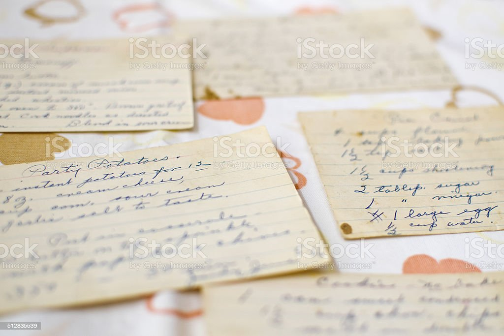 Close up of Recipe Cards stock photo