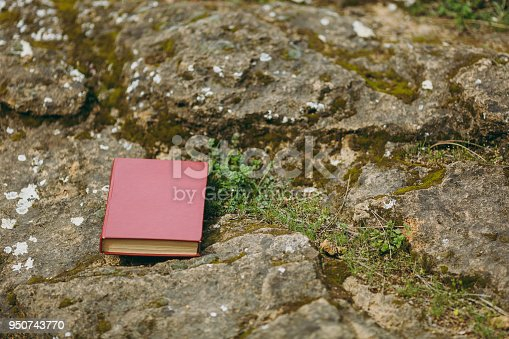 862602714istockphoto Close up of red book on old gray stones overgrown with green and brown moss and grass in park or forest. Natural background, textures. Copy space advertisement. With place for text. Advertising area. 950743770
