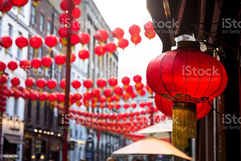Nahaufnahme Von Roten Lampion Im Freien In Street Chinatown London ...