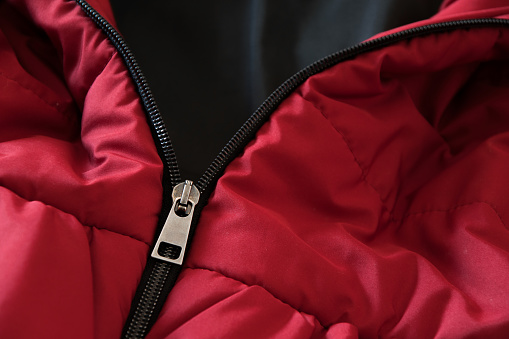 Close Up Of Red Down Jacket Winter Fashion Outfit Stock Photo - Download Image Now