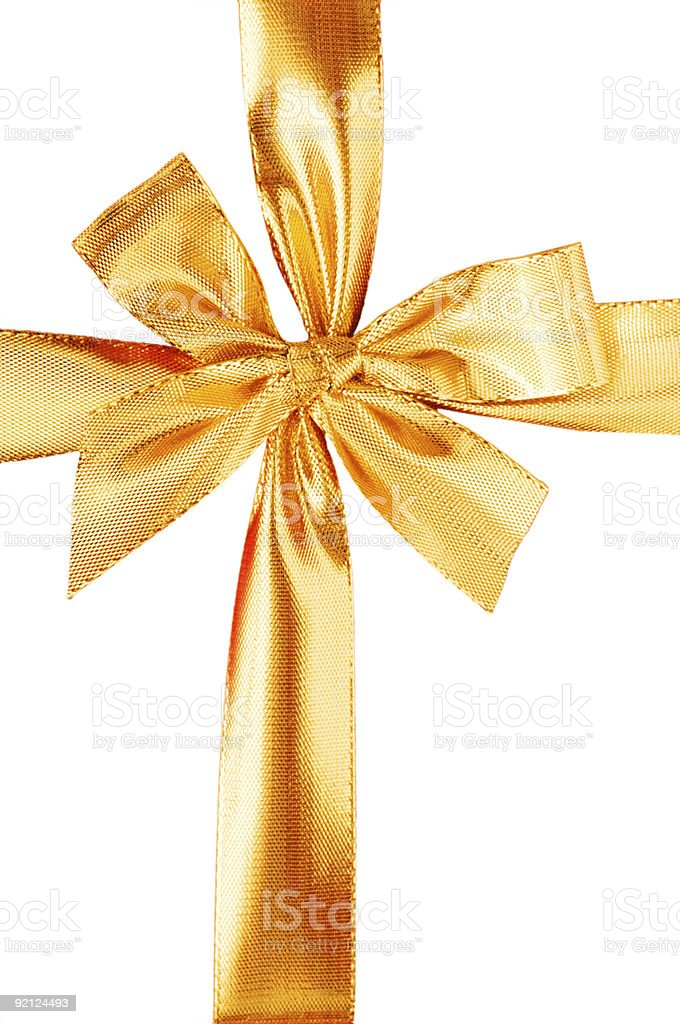 Close up of red gift box with gold bow royalty-free stock photo