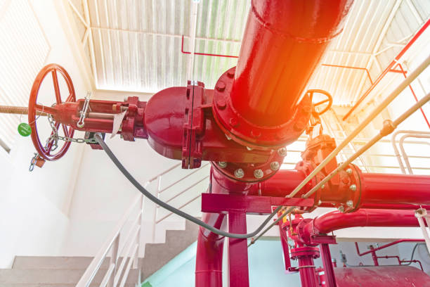 Close up of red pipe of fire pump system stock photo