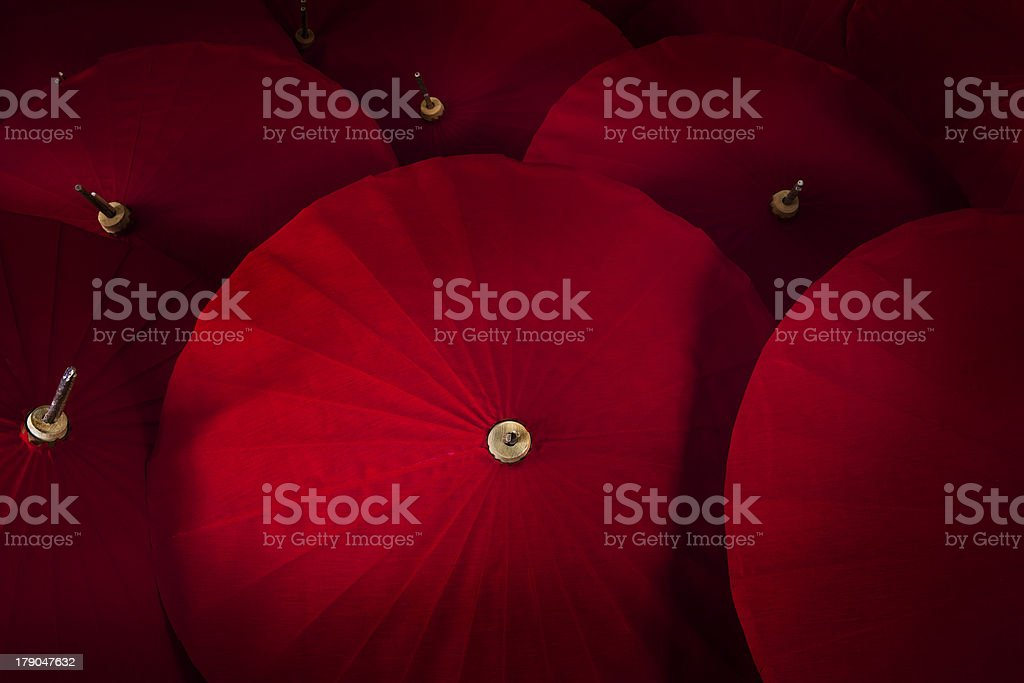 Close up of red umbrellas. royalty-free stock photo