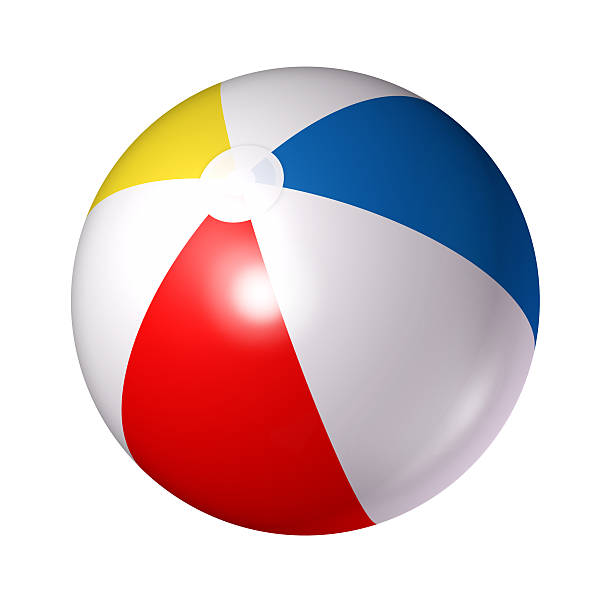 close up of red white blue and yellow beach ball - beach ball stock photos and pictures