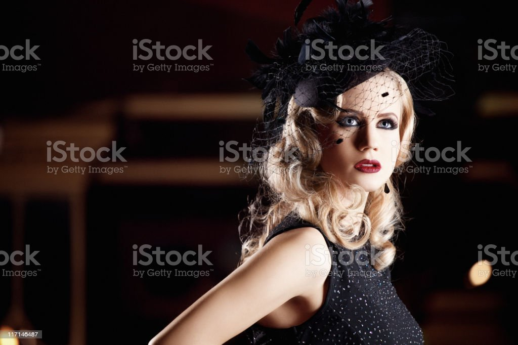 close up of retro styled woman royalty-free stock photo
