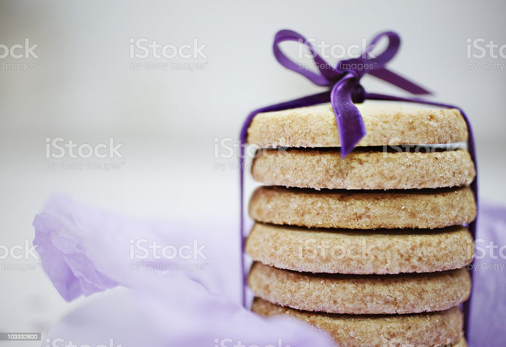 Close up of ribbon around stack of cookies royalty-free stock photo