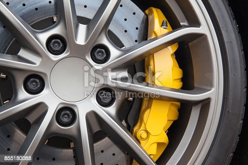 istock Close up of rims from a sports car 855180088