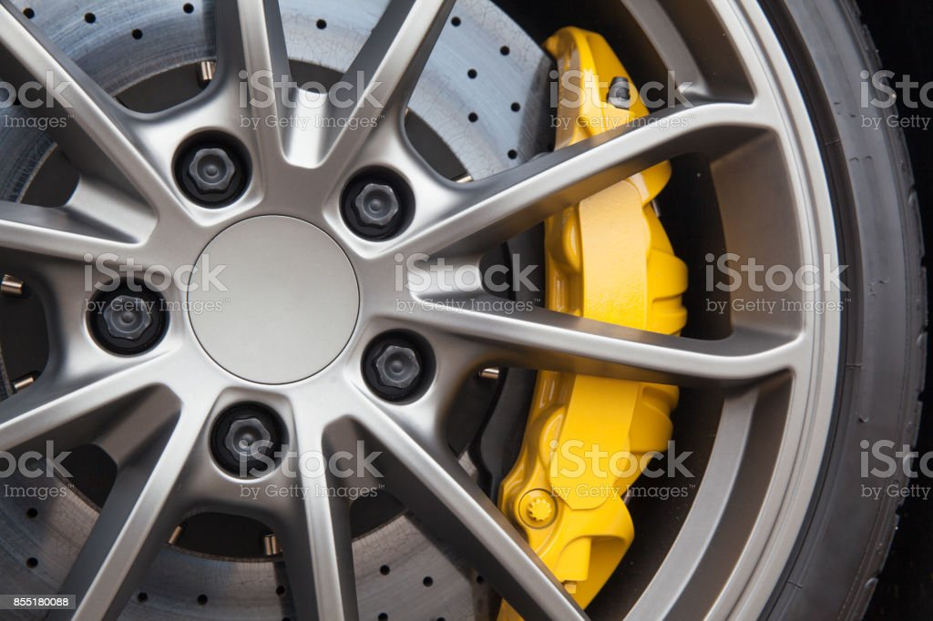 Close up of rims from a sports car stock photo