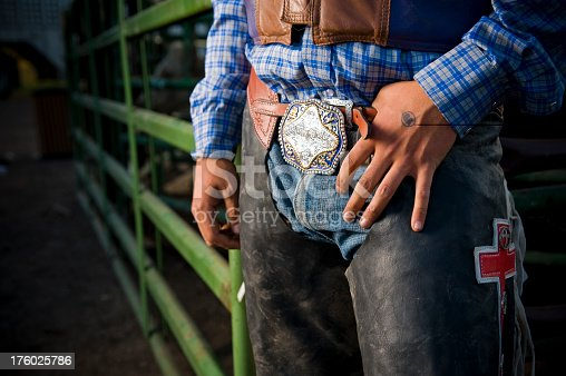 Close up of Rodeo cowboy's hands buckle and chaps in Colorado with copy-space.