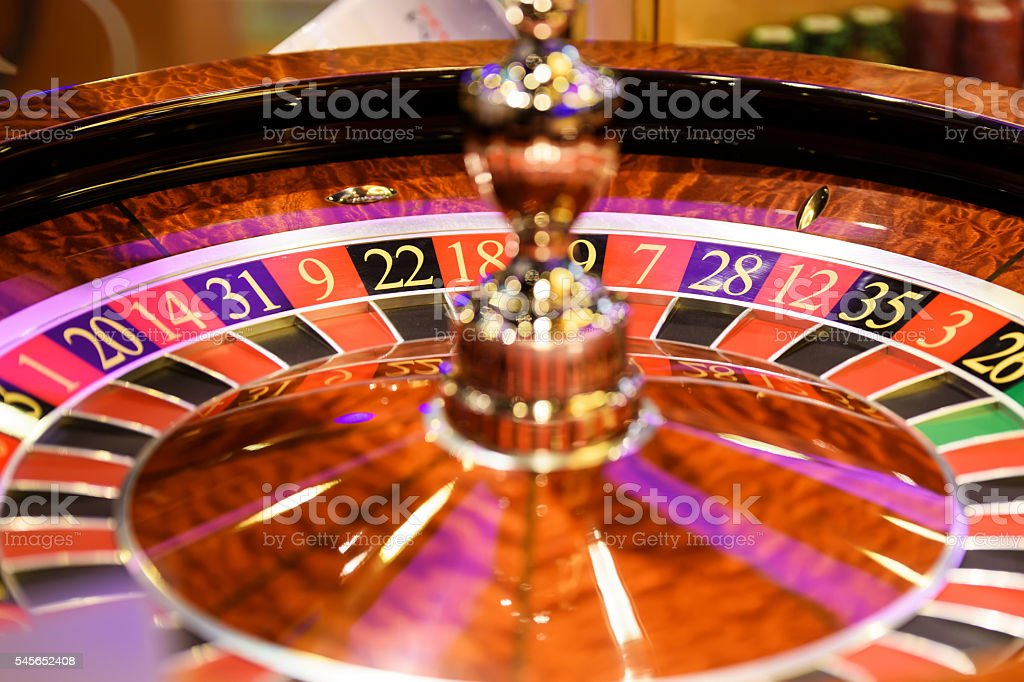 Close up of roulette at the gambling house, selective focus stock photo