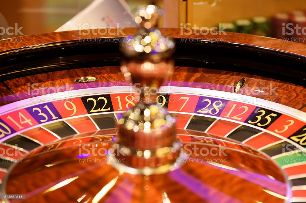 Close up of roulette in casino, selective focus stock photo