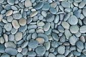 istock Close up of rounded grey river rocks 157586469