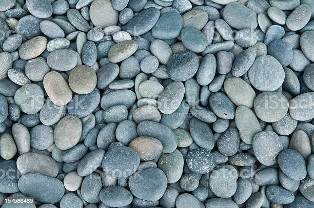 Photo of Close up of rounded grey river rocks